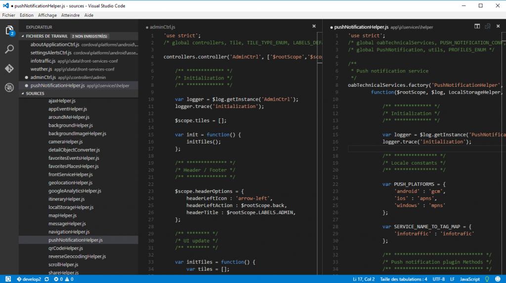 Fonctionnalités de base Visual studio code
